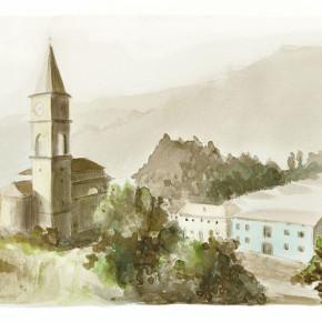 Pohled na Pannone s kostelem
