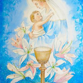 Něžná Panna Marie v blankytné modři