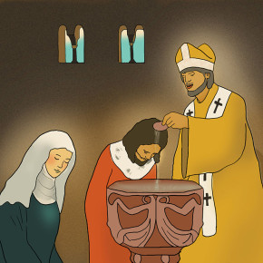 Bořivoj přijímá s Ludmilou křest od Metoděje