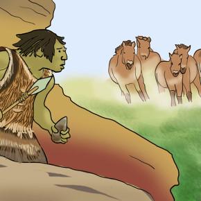 Pravěký člověk sleduje stádo koní